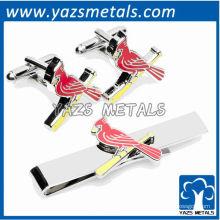 Gemelos de los cardenales mancuernas y juego de regalo de la barra de corbata, clip de lazo de metal a medida con diseño