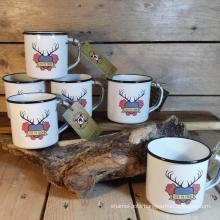 Enamel mug rolled rim/full decals/porcelain mug