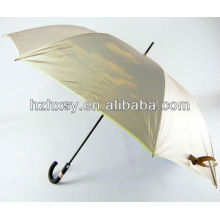 Werbe gerade Golf Regenschirm Fiberglas Welle & Rippen mit Kautschuk Haken Griff