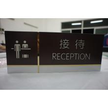 Painel de aço inoxidável interno gravado sinal de recepção com tinta
