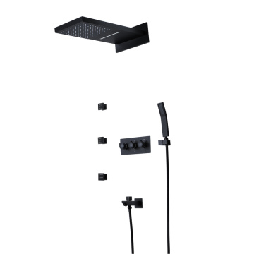Rainfall Waterfall Hot Cold Black Shower Faucet Set