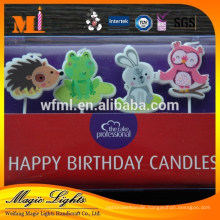 Wax birthday cake shaped candles with eco-friendly raw material