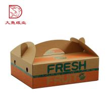 Фабрика OEM подгонянный Размер коробки плодоовощ упаковывая подарка бумажный с ручкой