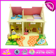 Newest Fashion Wooden Toy Doll House for Kids, DIY Wooden Doll House for Children, Cheap Mini Wooden Doll House for Baby W06A097