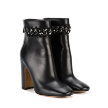 Ladies Block Heel Boots Heels Women Shoes Safety Boots Safety Black Rope Genuine Leather Women'S Boots 2020