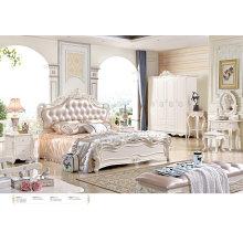 2016 роскошные короля размер дерева спальни мебель набор/французском стиле кровать (6602)