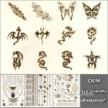 Oro de plata Nueva instantánea impermeable tatuaje temporal pegatinas dragón pintura impresa YS024 al por mayor