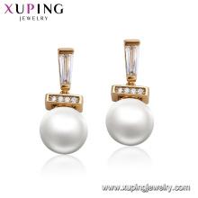 95124 xuping pendientes de perlas de moda diseños de lujo 18k accesorios de oro para las mujeres joyas