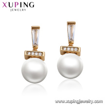 95124 xuping perle à la mode boucle d'oreille conceptions luxe or 18 carats accessoires pour femmes bijoux