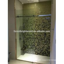 Frameless interior glass shower door for bathroom of hotel