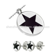 New Product Stainless Steel Star Pendant & Earring Jewelry Set