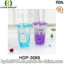 16oz Customized Plastic Lemon Juice Drinking Bottle with Straw (HDP-3069)