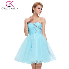 Grace Karin New Design Gown Voile Above Knee Beaded Sexy Light Blue Cocktail Dresses CL4503-1