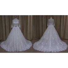 Ближний Рукавом Кружева Аппликация Длинный Поезд Свадебное Платье