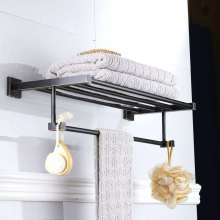 Bathroom hardware pendant black bronze craft brass material square hardware pendant towel rack