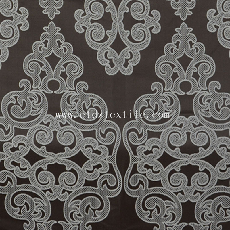 Flower Pattern Embroidery Like Window Curtain Chocolate