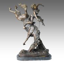 Soldaten Figur Statue Pferd Krieger Bronze Skulptur TPE-127