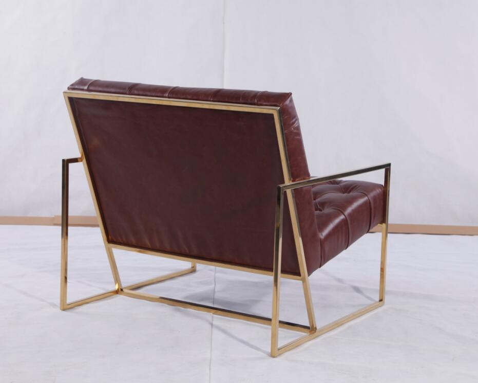 Wax Leather Brass Finish Chairs