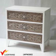 Белый 3 ящика Твердая древесина Античная Рука Резная Мебель