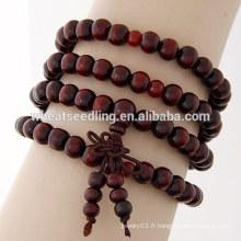 Bracelet en perles en bois bon marché en gros