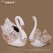 modern home decorative rose gold couple swan flower vase
