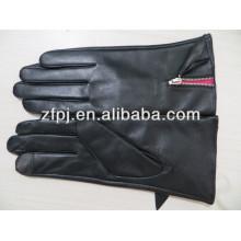 Girls Black Women Pu Leather Gloves with Zipper