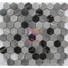 Black Mix Grey Hexagon Marble Mosaic Tile (CFS1008)