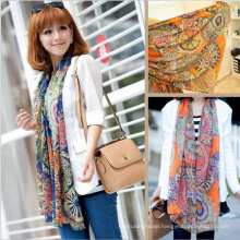 Wholesale Chiffon silk scarf 2015 scarf female summer and autumn all-match scarf long design cape silk feel chiffon scarves