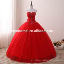 2017 new fashion red color sweet heart wedding dress floor length off shoulder red muslim wedding dress for bridal