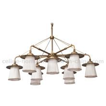 Chandelier Light in White Fabric Antique Bronze Lamp (SL2155-6+3)