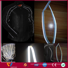 design elegante alta visibilidade preto 3 M tubulação reflexiva para wintbreaker