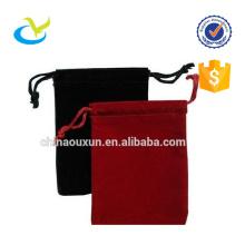 Stylish custom black velvet drawstring pouch bag for pen