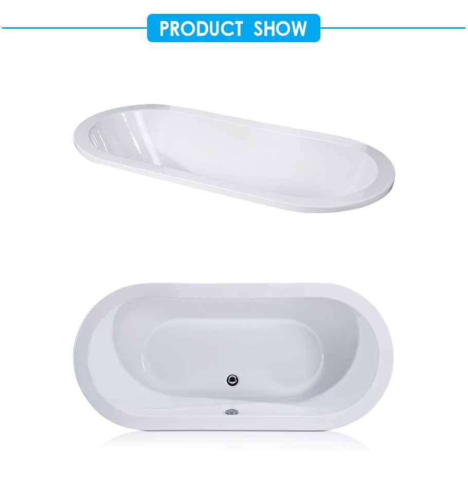 Oval Acrylic Drop-in Bathtub without Drain