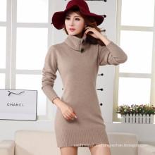 Nueva manera de la capa de la felpa de las mujeres de moda siete vestido de manga de las señoras jersey outwear suéter largo de cachemira visón