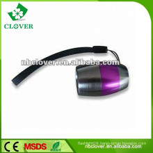 On/off button switch egg shape aluminum led flashlight with strap