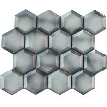 8mm Thickness Beveled Edge Glass Mosaic Grey Hexagon Tile Backsplash
