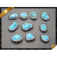 Fashion Jewelry Stone Bead with Crystal, Semi Precious Gemstone Loose Bead Wholesale Pave Rhinestone, Turquoise Bead (EF0114)