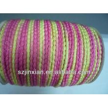 Diseño de moda de encaje de ganchillo de algodón rosa y amarillo