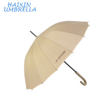 Promotional Strong Sombrillas 16k Beige Straight Long Handle Umbrella Custom Logo for Men Manufacture by China Parasol Factory