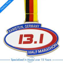 Médaille demi-marathon à la menthe personnalisée en Chine à haute qualité en alliage de zinc