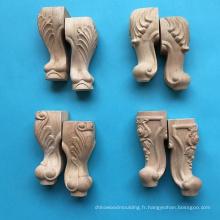 Pied de table en bois sculpté, pied de meuble, pattes de canapé
