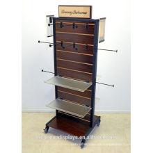 Kleidungsstück Showroom Display Ideen 2-Wege Holz Slatwall Acryl Regal Freistehende Kleidung Gondel