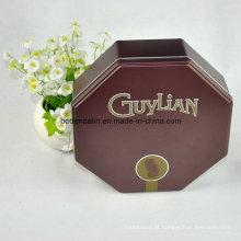 Caixa de lata de embalagem de chocolate de metal personalizado com forma octogonal