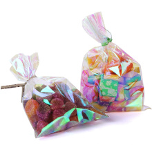 High Quality Custom Iridescent Holographic Cellophane Party Bags with Twist Ties Solid Gift Wrap Cellophane Plastic Bags
