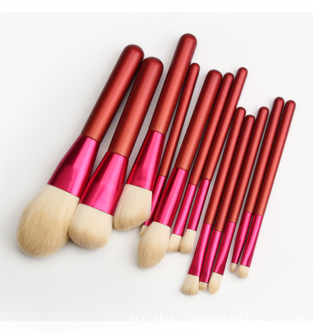 12 PCS Red Handle Makeup Brushes Set Size 8