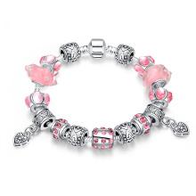 Popular Heart Shape Design Europe Zircon and Glass Material Female Bracelet