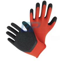 Landscape Red Polyester/Nylon Black Crinkle r Latex Dipped Hand Work Gloves For Construction