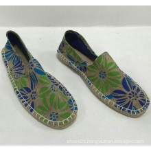 Wholesale new style high quality jute printing shoes espadrille