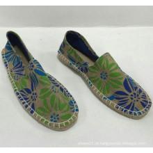 Atacado novo estilo de alta qualidade da juta impressão sapatos espadrille