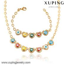 64021 Xuping moda banhado a ouro colar de mulheres conjunto de jóias